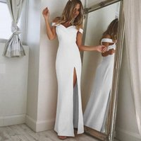Wholesale Night Dresses Long Sleeves - New Women Floor-Length Maxi Dresses Sexy Off Shoulder Deep V Neck Party Dresses Fashion 5 Colors High Split Evening Party Prom Gowns