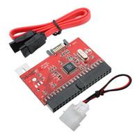 3.5 qualidade do cabo venda por atacado-Venda por atacado- Alta Qualidade 3.5 IDE para SATA IDE ATA 100/133 HDD adaptador conversor adaptador com cabo de alimentação de cabo SATA para MAC PC Super velocidade