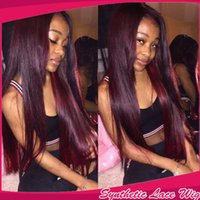 Wholesale Dark Purple Wigs - Charming Dark Purple 99j# Silky Straight Long Wigs Heat Resistant Glueless Synthetic Wigs Lace Front Wigs with Baby Hair Africa American Wig