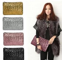 Wholesale Sparkle Clutch Purse - 2017 New Fashion Dazzling Glitter Sparkling Bling Sequins Evening Party purse Bag Handbag Women Clutch wallet