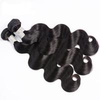 remy haare 14 großhandel-Neue Remy Brasilianische Jungfrau-Haarkörperwelle Natürliche Farbe 4 Stücke / 3 Bundles Unverarbeitetes Nähen in Schuss Remy Menschenhaarverlängerungen