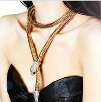 Wholesale Choker Scarf Necklace - 20pcs Temptation Flexible Bendable Snake Jewelry Necklace Choker Bracelet Scarf Holder Bendy Chain waist chain F150