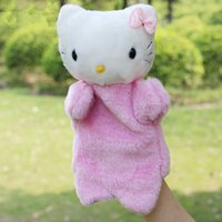 Wholesale Hello Kity Kids - Cartoon Cat Plush Hand Puppet Toys Puppet Plush Hello Kity Pink Cute Cat Doll Toys For Kids Baby Birthday Christmas Gifts