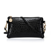 Wholesale Patent Leather Handbags Wholesale - Wholesale- New Arrival Lady Patent Leather Bags Women Crocodile Messenger Bags Fashion Small Crossbody Leather Handbags