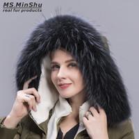 Wholesale white fur trim for coats resale online - Black Raccoon Fur Collar Real Fur Collar for Down coat Hood Hood Scarf Natural Fox Scarf Collar Down Coat Hood Trimming Custom Made Fur Trim
