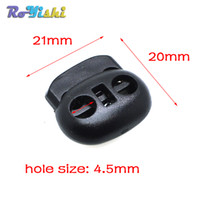 Wholesale 8mm clips - 100pcs lot Cord Lock Bean Toggle Stopper Plastic Size:20mm*21mm*8mm Toggle Clip Black
