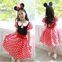 Wholesale Lolita Headdress - Girls Dresses Kids Princess Minnie Summer Baby Fashion Short Sleeve Tutu Bow 2017 Summer Party Lace Dresses Headdress