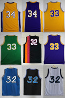 Wholesale Best Free Logos - 2017 Mens #32 #33 #34 Shaquille ONeal best Quanlity Basketball sport Jerseys embroidery with player name logo Free fast Shipping