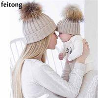 Wholesale white baby beanie - Feitong 2Pcs Mom And Baby Hats Fashion Winter Hat Crochet Knitting Keep Warm Beanie Winter Cap Chapeau Enfant Bonnet Femme
