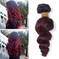 Wholesale brazilian loose wave two tone hair for sale - Group buy Two Tone B J Burgundy Remy Hair Weave Wine Red Hair Weft Bundles Ombre Malaysian Loose Wave Virgin Human Hair Extensions
