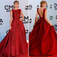 Wholesale Swift Celebrity - aylor Swift Long Evening Dress Beaded Backless A Line Embroidery Applique Sequins Beaded Formal Celebrity Dress Evening Gowns Red Carpet