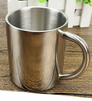 Wholesale Tea Cup Portable - NEW 200ML Double-layer Stainless Steel Coffee Cups Portable Eco-friendly Non-toxic Tea Drinking Mug for Home Restaurant Cafe