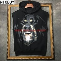 Wholesale Giv Hoodie - 2017 fashion brand tag clothing men sleeveless 3D Rottweiler print hoodies hooded sweatshirt giv Palace pullover kanye west