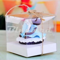 Wholesale Small Cupcake - Wholesale-Mini Wedding PVC Cupcake Boxclear Gift Craft display Box Small Single Cupcake Box packing Holder Transparent Clear Plastic Box