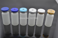 Wholesale Vials Crimp Caps - Wholesale- 100sets 10ml Clear Frosted Glass Vials with Silicone Stopper & Flip Off Caps, Cosmetic Injection glass bottles with Crimp Neck