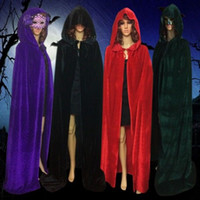 Wholesale black hooded cloak cape - Costume Velvet Hooded Cloak Cape Medieval Pagan Witch Wicca Vampire Halloween Costume