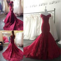 Wholesale corset vintage prom dress - 2017 New Elegant Burgundy Off the Shoulder Prom Dresses Lace Appliqued Sequins Mermaid Evening Dresses Corset Back Vintage Long Sweep Train