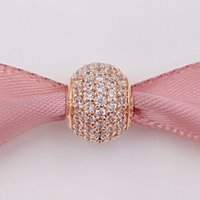 Wholesale beads colour - 925 Silver Beads Rose Colour Silver Pave Ball Charm with micro pave cz Fits European Pandora Style Jewelry Bracelets 781051CZ Gold Plated