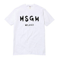haut de cou pour l'été achat en gros de-Gros-Haute Qualité Hommes / Femmes MSGM T Shirt Été Couple Marque Lettre Imprimé Tops Tee Coton Décontracté À Manches Courtes O-cou T-shirt