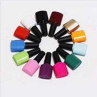 Wholesale Nail Shape Colour - 8-10ml glass Empty DIY Nail polish bottle , black colour oval shape with black cap many colours available F2017324