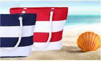 polyester-falttaschen großhandel-Frauen druckten Strandtasche Streifen-Segeltuch-Handtasche faltbare Einkaufen-Wasser-Kräuselungs-Totalisator-Schulter-Tasche Freies Verschiffen