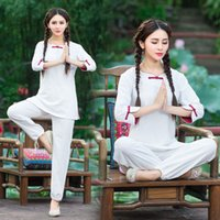 Wholesale White Yoga Outfits - 2016 yoga clothes, the Chinese national wind suit, simple and elegant loose large size women suits,Breathable Fitness Clothes Yoga Outfits