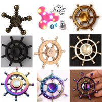 Wholesale Pirate Led - DIY Pirate Rudder Brass Hand Spinner Tri Fidget Led bluetooth Finger Focus EDC ADHD Autism spinning Top Finger spinners Gyro Anxiety Toy 100