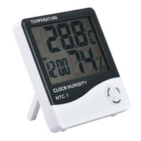 Wholesale Electronic Calendar Alarm - HTC-1 Electronic Temperature Clock LCD Digital Indoor Humidity Meter Daily Alarm And Calendar Display with 20pcs Retail Package