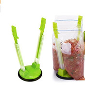 Wholesale Multi Storage Hand Bag - Convenient Food Storage Bag Holder Practical Hands Baggy Rack Kitchen Tools Green Bags Hanging Device Multi Function Holders Popular 7sx R