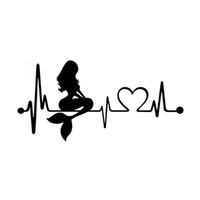 Wholesale classic door - Mermaid Heartbeat Lifeline Fashion Creative Classic Personality Motorcycle Car Styling Decor Car Sticker
