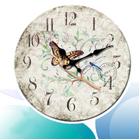 Wholesale Country Wooden - Romance Wall Clocks 12 14 16 20 24 Inch Vintage Rustic Country Style Arabic Numerals Wooden Decorative Round Wall Clock
