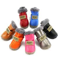 büyük köpek ayakkabıları toptan satış-Sıcak Satış Kış Pet Köpek Ayakkabı Su Geçirmez 4 Adet / takım Küçük Büyük Köpek Çizmeler Pamuk Kaymaz XS XL için Pet Ürün