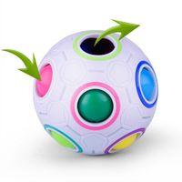пазлы бесплатно веселья оптовых-Радуга мяч Магический куб скорость футбол весело творческие сферические головоломки дети образовательные обучающие игрушки для детей взрослых подарки бесплатный корабль