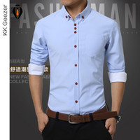 Wholesale Men Slim Work Shirts - Wholesale- Shirts Men Long Sleeve Casual Cotton Dress Shirts Work Wear Plus Size Famous Brand New Fashion 2016 Summer Bussiness Slim Fit