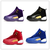 Wholesale Cheap Leather High Boots - 2017 cheap air retro 12 wool XII basketball shoes High Cut Boots High Quality Sneakers J12 Black White Sports Shoes Free Shipping