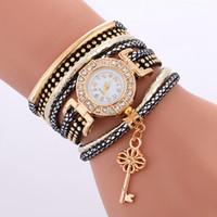 Wholesale acrylic key tags for sale - Group buy Fashion Long Straps Women Leather Bracelet Watch New Casual Ladies Diamond Key Pendant Dress Quartz Watches