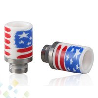 Wholesale E Cigarttes - US Flag Ceramic drip tips E Cigarttes Wide Bore Drip Tips With US Flag Pattern Fit RDA Tank 510 Drip Tips DHL Free