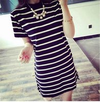 Wholesale Stripe Shirt Plus - Soft and loose Long style Women's T-shirt Comfortable cotton Dress material European casual short sleeve shirt Stripe pattern T-shirt