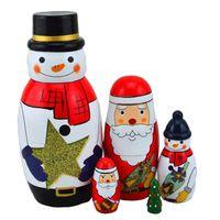 Wholesale Handmade Wooden Paintings - Handmade Painting Craft Snowman Santa Claus Christmas Tree Nesting Dolls Matryoshka Russian Doll Toy Set of 5