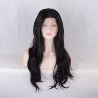 Wholesale Natrual Wave - Celebrity style Synthetic wigs natrual wave Hair Wig Natural black 1B color with baby hair pelucas black women lace front wig
