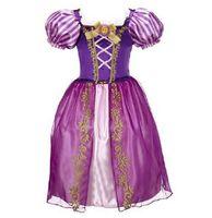 Wholesale Baby Sleeping Beauty - Pretty baby purple long hair princess sleeping beauty princess dress girls princess aurora flare sleeve dress