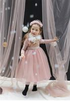 Wholesale Custom Dress Korea - The explosion of South Korea Korean children dress girls girls plus velvet lace butterfly Christmas Dress thickening