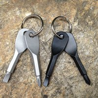 Wholesale Multifunctional Pocket Tool Keychain Outdoor EDC Gear Keychains With Slotted Phillips Head Mini Screwdriver Set Key Rings