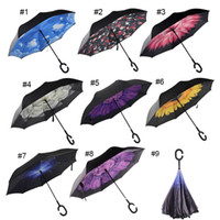 Inverted Umbrella Double Layer Reverse Rainy Sunny Regenschirm mit C Griff Selbst Standing Inside Out Special Design Großhandel 0703045