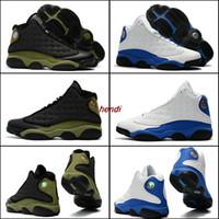 Wholesale Basket Ball Shoes Cheap - 2017 New Cheap Air Retro 13 XIII Men Basketball Shoes Athletics Basket Ball Man SportS Retros 13s Sneaker Shoes Olive Black Army Green White