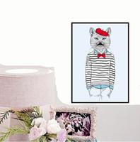 niños marcos de fotos de animales al por mayor-Kawaii Animal Cat -2 Impresión de Póster Moderno Nordic Cartoon Nursery Wall Art Picture Niños Habitación Del Bebé Decoración Pintura de la Lona Sin Marco