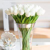 düğün buketleri laleler toptan satış-20 adet / grup Lale Yapay Çiçek Gerçek Dokunmatik PU Yapay Buket Çiçek Ev Dekorasyon Düğün Dekoratif Çiçekler Için
