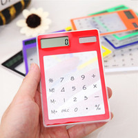Wholesale Touch Screen Calculators - Solar Calculator Creative Stationery Cute Mini Hand Held Ultra Thin Portable Calculators Solar Power Transparent Touch Screen 4 9br F R