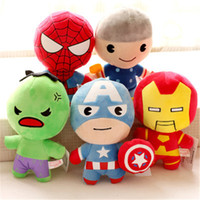 Wholesale Plush Avengers - Captain America Stuffed Animals Doll The Avengers Superman Spiderman Batman Plush Toys Marvel Heros Action Figure Kids Gifts