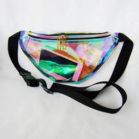 Wholesale Fanny Bag Women - 5pcs women metallic silver Fanny Waist bag chest pack sparkle festival hologram bag